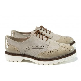 Равни дамски обувки - висококачествена еко-кожа - бежови - EO-9841