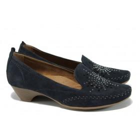 Дамски обувки на среден ток - естествен велур - тъмносин - EO-9843