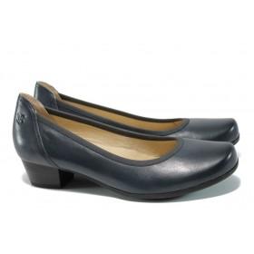 Дамски обувки на среден ток - естествена кожа - тъмносин - EO-9845