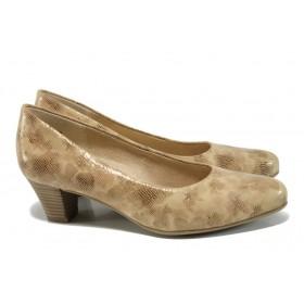 Дамски обувки на среден ток - естествена кожа - бежови - EO-9846