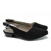 Дамски обувки на среден ток - висококачествен еко-велур - черни - EO-9844