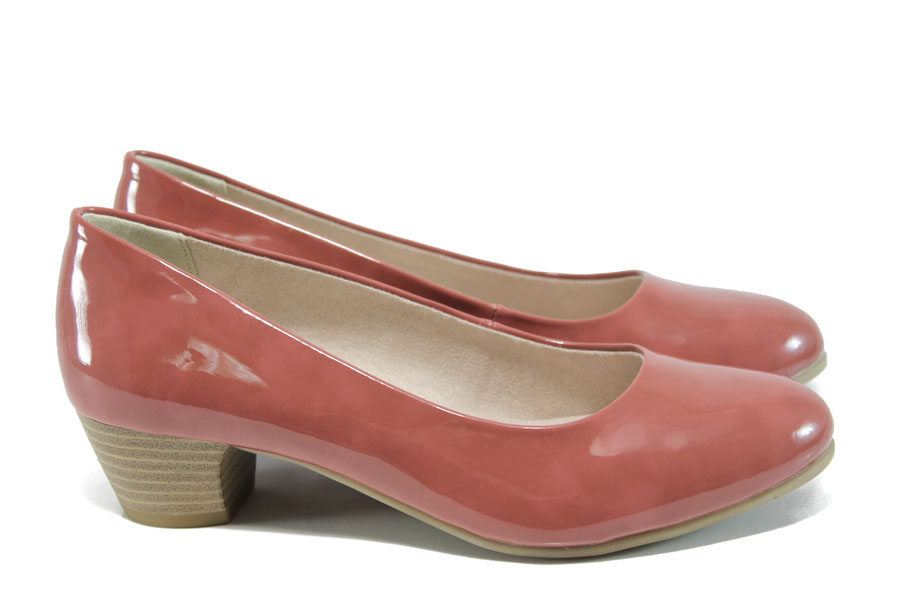 Дамски обувки на среден ток - еко кожа-лак - розови - EO-9848
