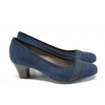 Дамски обувки на среден ток - висококачествен еко-велур - тъмносин - EO-9852
