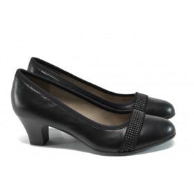 Дамски обувки на среден ток - висококачествена еко-кожа - черни - EO-9851