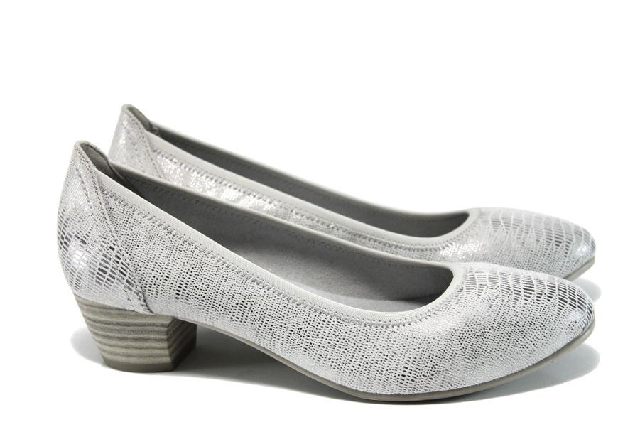 Дамски обувки на среден ток - висококачествена еко-кожа - сребро - EO-9853