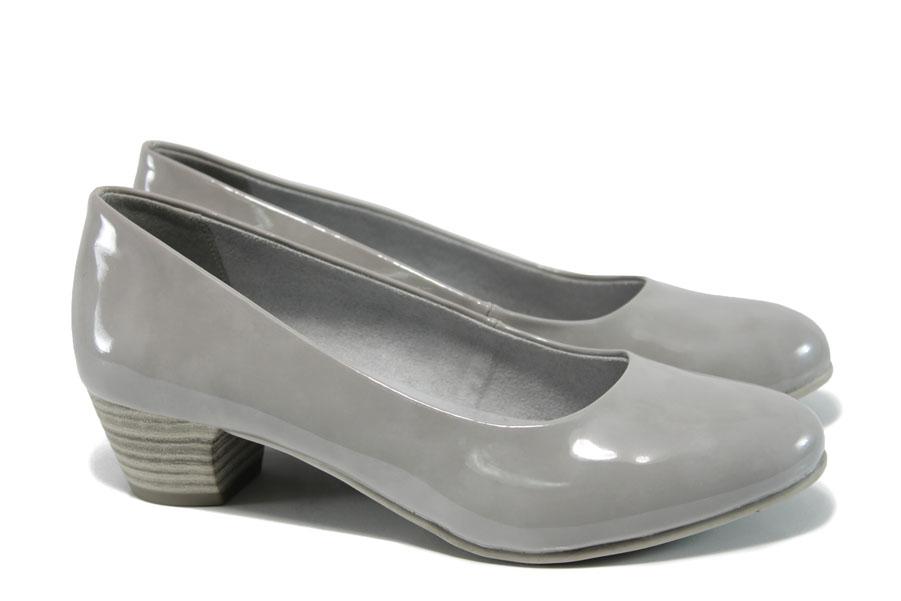 Дамски обувки на среден ток - еко кожа-лак - светлосив - EO-9854