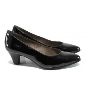 Дамски обувки на среден ток - еко кожа-лак - черни - EO-9855