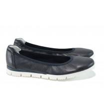 Равни дамски обувки - естествена кожа - тъмносин - EO-9856