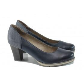 Дамски обувки на висок ток - висококачествена еко-кожа - тъмносин - EO-9857