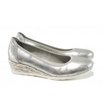Дамски обувки на платформа - висококачествена еко-кожа - сребро - EO-9858