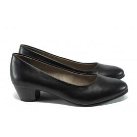Дамски обувки на среден ток - висококачествена еко-кожа - черни - EO-9859