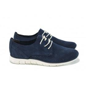 Равни дамски обувки - естествен набук - сини - EO-9872