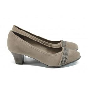 Дамски обувки на среден ток - висококачествен еко-велур - бежови - EO-9873