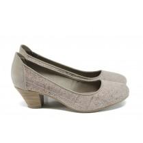 Дамски обувки на среден ток - естествен набук - бежови - EO-9878