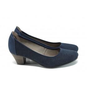 Дамски обувки на среден ток - естествен набук - тъмносин - EO-9879