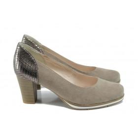 Дамски обувки на висок ток - висококачествен еко-велур - бежови - EO-9882
