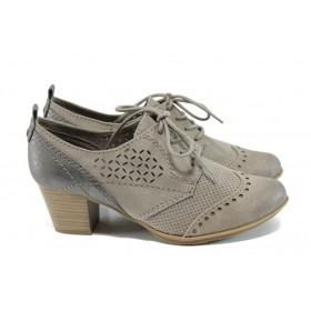 Дамски обувки на среден ток - висококачествена еко-кожа и велур - бежови - EO-9883