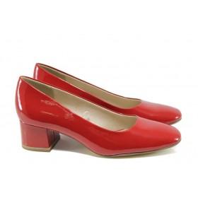 Дамски обувки на среден ток - еко кожа-лак - червени - EO-9884