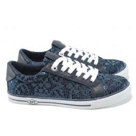 Равни дамски обувки - еко-кожа с текстил - сини - EO-9886