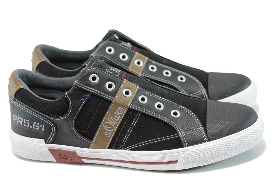 Спортни мъжки обувки - висококачествена еко-кожа и велур - черни - EO-9888