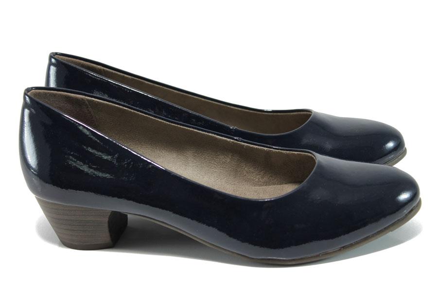 Дамски обувки на среден ток - еко кожа-лак - тъмносин - EO-9891