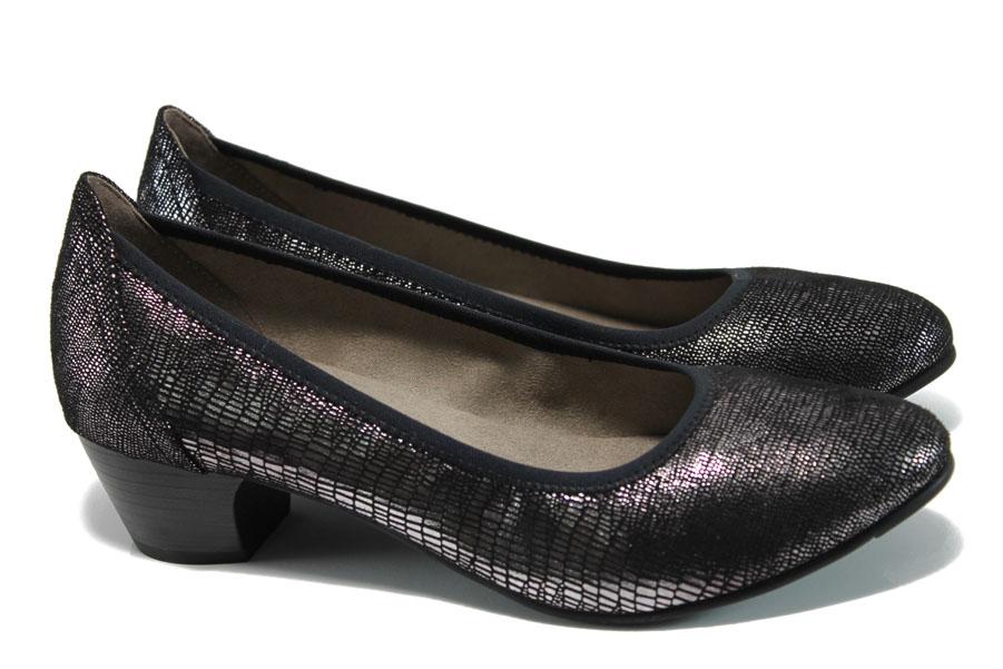Дамски обувки на среден ток - висококачествен еко-велур - черни - EO-9890