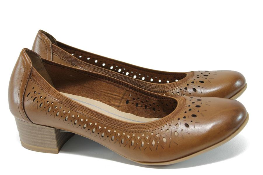 Дамски обувки на среден ток - естествена кожа - кафяви - EO-9895