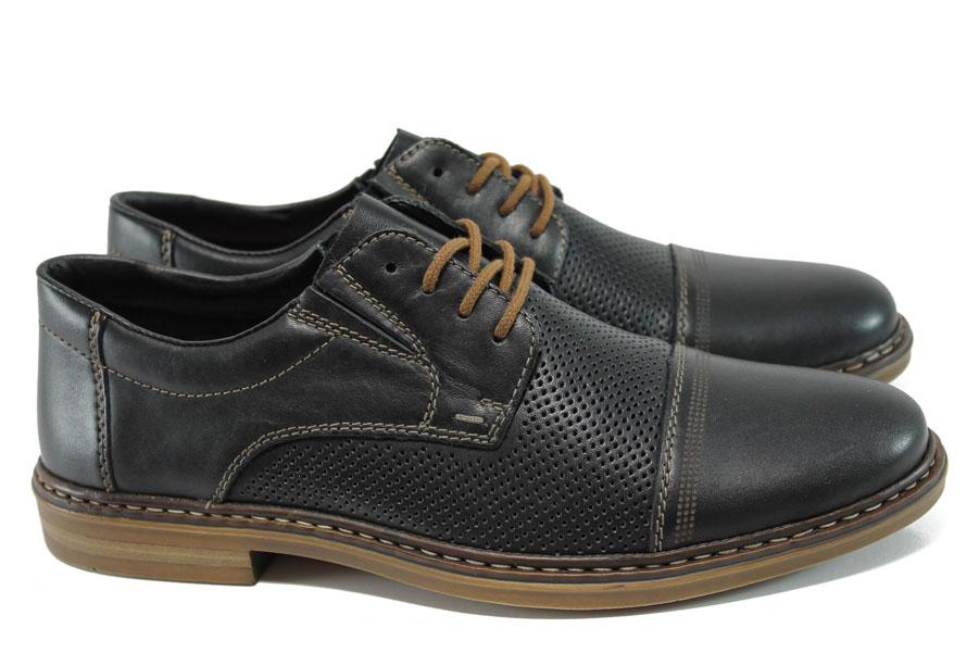 Мъжки обувки - естествена кожа - черни - EO-9896