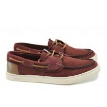Мъжки обувки - естествен набук - бордо - EO-9903