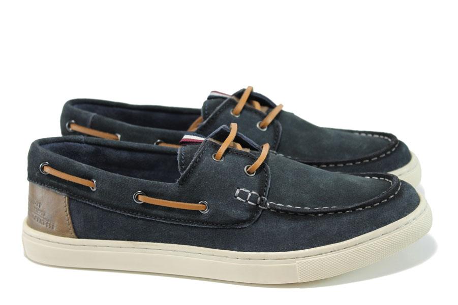 Мъжки обувки - естествен набук - тъмносин - EO-9904