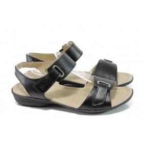 Дамски сандали - естествена кожа - черни - EO-9905