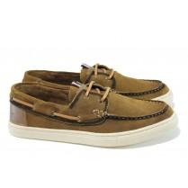 Мъжки обувки - естествен набук - кафяви - EO-9919