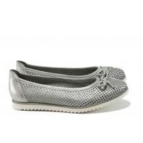 Равни дамски обувки - естествена кожа - сиви - EO-9921