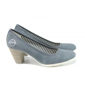 Дамски обувки на среден ток - висококачествена еко-кожа - сини - EO-9922