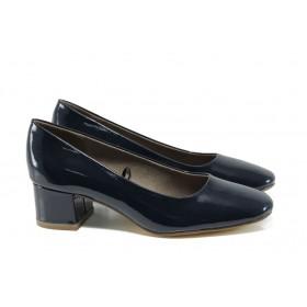 Дамски обувки на среден ток - еко кожа-лак - тъмносин - EO-9923