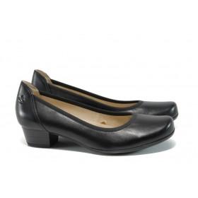 Дамски обувки на среден ток - естествена кожа - черни - EO-9924