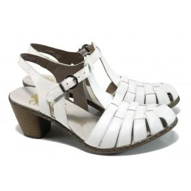 Дамски сандали - естествена кожа - бели - EO-9925