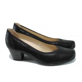 """Дамски обувки на среден ток - естествена кожа с """"кроко"""" мотив - черни - EO-9926"""