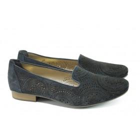 Равни дамски обувки - естествена кожа - тъмносин - EO-9983