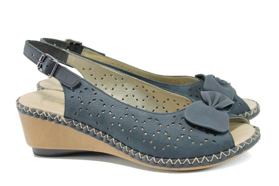 Дамски сандали - естествена кожа - сини - EO-10207