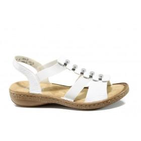 Дамски сандали - еко-кожа с текстил - бели - EO-10208