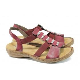Дамски сандали - еко-кожа с текстил - бордо - EO-10438