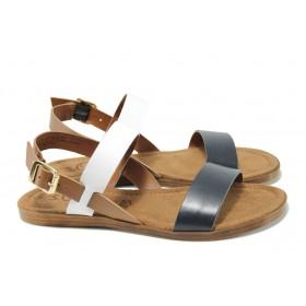 Дамски сандали - естествена кожа - тъмносин - EO-10440