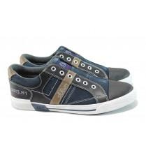 Спортни мъжки обувки - висококачествен текстилен материал - тъмносин - EO-10443