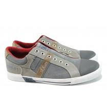 Спортни мъжки обувки - висококачествен текстилен материал - сиви - EO-10444