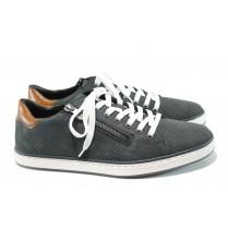Мъжки обувки - естествена кожа - тъмносин - EO-10445