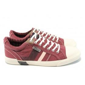 Спортни мъжки обувки - висококачествен текстилен материал - бордо - EO-10447