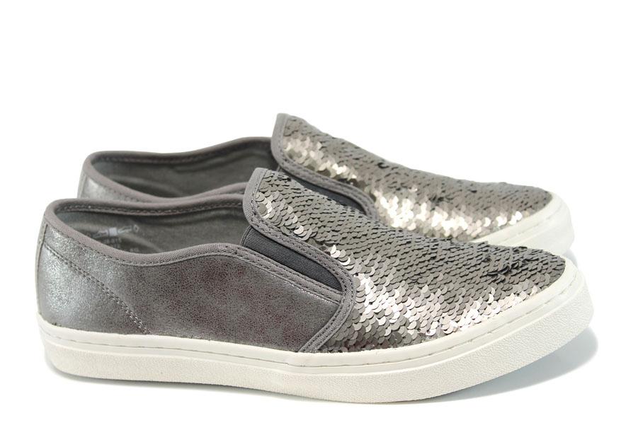 Равни дамски обувки - текстилен материал с брокат - сребро - EO-10449
