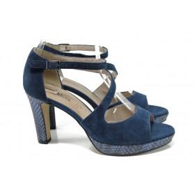 Дамски сандали - естествен велур - сини - EO-10450