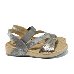 Дамски сандали - висококачествена еко-кожа - сиви - EO-10451